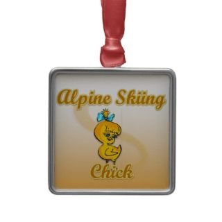 Alpine Skiing Chick Christmas Tree Ornaments