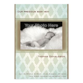 Green diamond baby birth announcement
