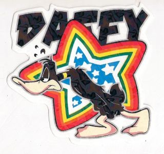 DB181 HOLOGRAM DAFFY DUCK LOONEY TUNES CAR BUMPER STICKER DECAL 3.5 X