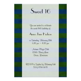 Sweet 16 Crushed Paper Lines Stripes Green Blue Announcements