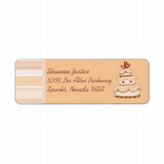 Champagne Wedding Cake Custom Return Address Label