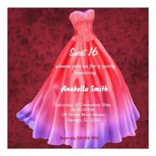 Long dress Sweet 16 (Red) Announcement