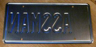 Seinfeld ASSMAN Cosmo Kramer STAMPED Prop License Plate