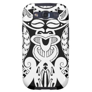 Polynesian tattoo design with lizard and tiki mask galaxy s3 case