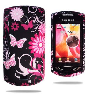 FOR SAMSUNG S5620 MONTE FLORA PINK BUTTERFLY CASE COVER