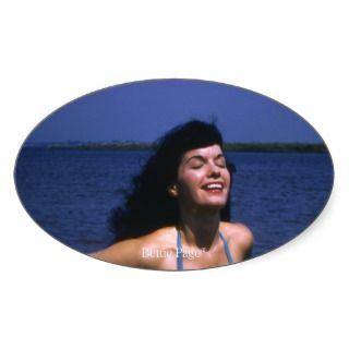 Bettie Page Sunning In Her Blue Vintage Bikini Sticker