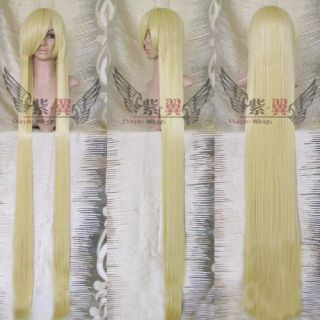 150cm supler long blonde gold straight Cosplay Wig 213