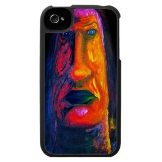 Surreal Two Face Man with Green Lips iphone 4 case Oil Painting by
