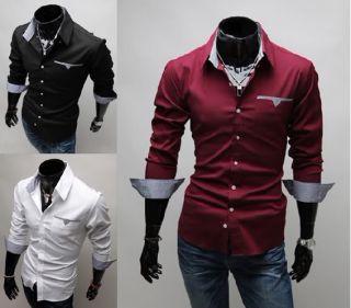 Neue Designer Mode Luxus Slim Fit Herren Shirt Weiß, Schwarz, Rot