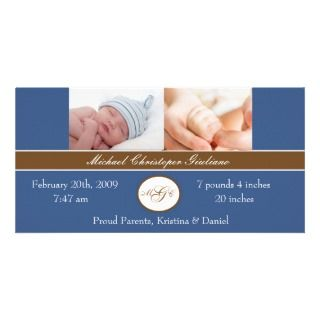 Baby Boy Birth Announcement Custom Photo Card