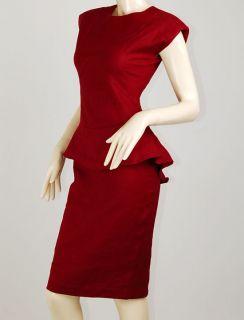 Maroon Red Gossip Girl Blair Waldorf Peplum Rockabilly Pencil Dress