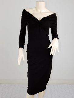 Vtg Off Shoulder Twist Rockabilly Pin Up Kleid Dress XL