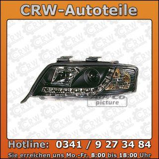 Scheinwerfer Set LED Tagfahrlicht Optik Audi A6 C5 schwarz