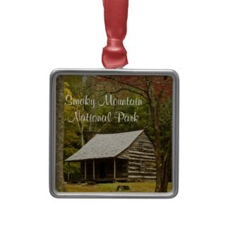 Smoky Mountain National Park Cabin in Fall Christmas Ornament