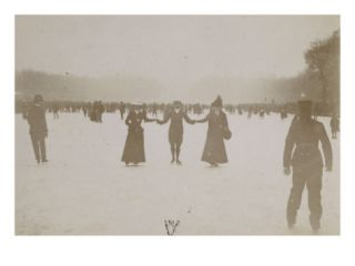 Photo Album Ice Skating Scene in Versailles in 1900 Giclee Print