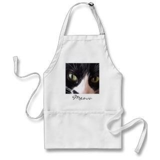 Black Cat, White Whiskers, Green Eyes Aprons