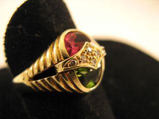 R228 585er 14kt Gelbgold Ring mit rosa und grünen Turmalin, Brillant