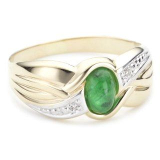 Bella Donna Damen Ring 14 Karat Gelbgold 2 Diamanten 1 Smaragd Gr. 60