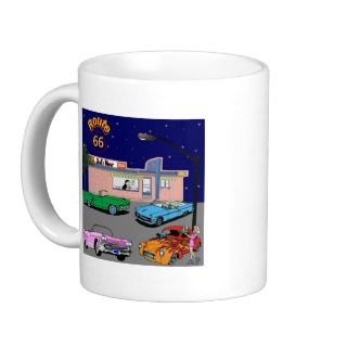1950s Diner Route 66 and Vintage Cars Coffee Mugs