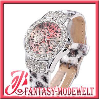 Neu Luxus Damen Leopard Quarz Analog Leder Armband Uhr + Strass womens