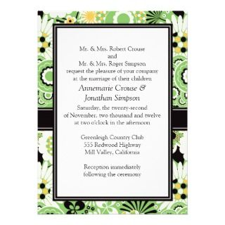 Retro Yellow Green Brown Wedding Invitation