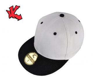 NEW 2 Tone White + Black Flat Peak Baseball cap 6 1/2