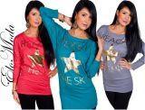 Damen Shirt glatt Top T Shirt golden beduckt verschiedene Farben