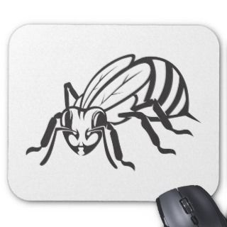 Serious Honey Bee in Black and White Mousepads