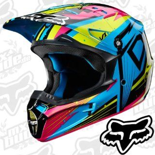 Fox V1 Motocross Helm Undertow   Green/Blue M Motorrad