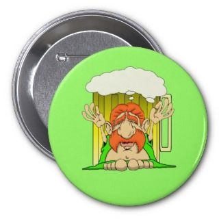 Irish Buddha the Beer God Pinback Buttons