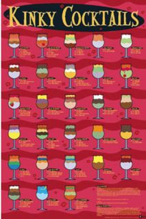 Kinky Cocktails (Drink Recipes) Art Poster Print Prints