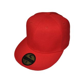 New Plain Red Flat Peak Fitted Kids Baseball cap 6 1/2