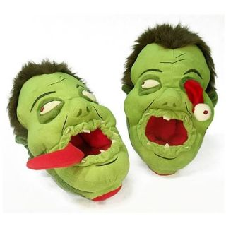 Zombie Afoot Slippers Eyeball Green Plush Kooky Undead Geek Novelty