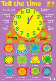 Laminated Tell The Time Educational Chart Poster Print Posters