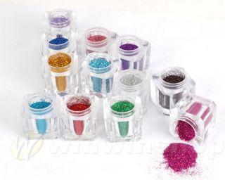 NEU??? 12 Farben Nail Art Nagel Puder Glitter Pulver
