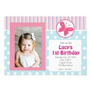 Pink Girl Butterfly Birthday Invitation