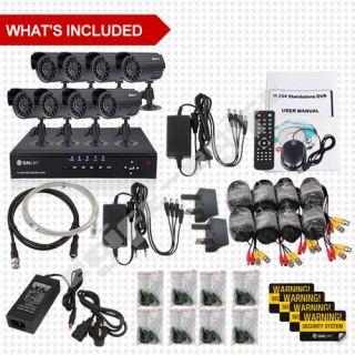 SUNLUXY 8CH CCTV H.264 Surveillance DVR Day Night Outdoor Security
