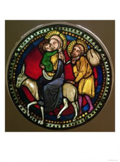 Stained Glass Window Depicting the Flight into Egypt, Late 13th Century Giclee Print