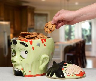 Zombie Head Cookie Jar Think Geek Gift Biscuit Food Container Ceramic