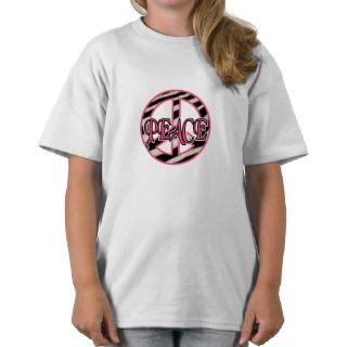 Zebra Print Peace Sign T Shirt