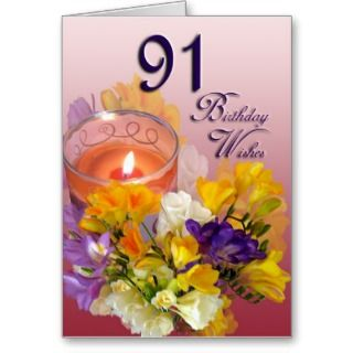 Freesias 91st Birthday Wishes Greeting Card