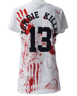 Darkside White Zombie Killer Womens Fitted TShirt Top Punk Rock Gothic