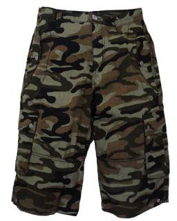 Mens Darkside Camo Skull Khaki Army Punk Rock Mod Denim Cargo Shorts