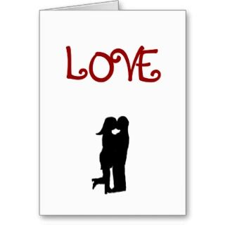 Love Kiss Silhouette Valentines Day Card