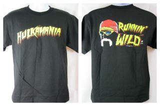 HULK HOGAN Running Wild Hulkamania T shirt Black NEW