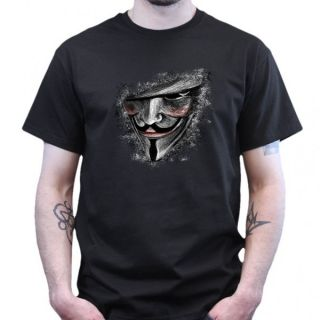 for Vendetta / Guy Fawkes / Anonymous T Shirt   Schwarz NEU