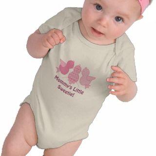 Cute Pink Pattern Birds Mommys Little Sweetie T shirt