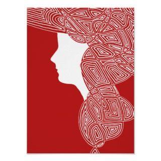 Beautiful modern art deco   art nouveau style silhoette of a woman.