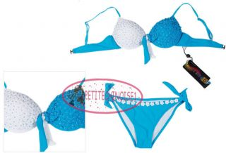 Sexy Push Up Bead Flowers Two Tone Bikini Set Swimsuit Bademode GW289