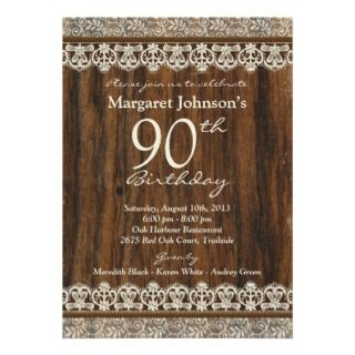 Vintage Rustic Wood Ivory Lace 90th Birthday Custom Invitations